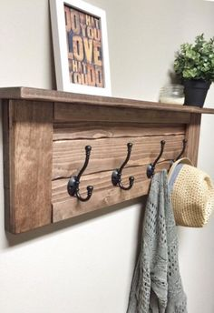 Wooden Entryway Coat Rack with Hooks, Rustic Wooden Shelf, Entryway Rack, Coat Rack, Coat Rack Shelf Entryway Coat Rack, Diy Coat Rack, Rustic Coat Rack, Coat Rack Shelf, Wooden Coat Rack, Diy Coat Hooks, Shelf Hooks, Wall Mounted Coat Rack, Coat Racks