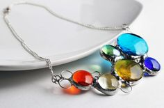 Reserved for Danielle Stained Glass Jewelry Necklace  par LAGlass