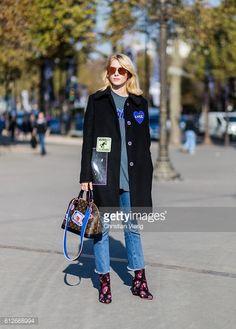 PARIS, FRANCE - OCTOBER 04: Laura Tonder wearing a Louis Vuitton... #tonder: PARIS, FRANCE - OCTOBER 04: Laura Tonder wearing a… #tonder
