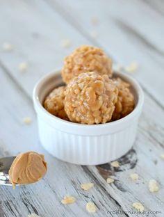 Gluten free, no-bake peanut butter balls with rice crispies
