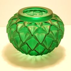 Rene Lalique moulded green vase    Art Deco moulded green glass vase, serrated leaf design Languedoc  Rene Lalique  Designed 1929