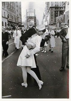 "Although we can't see the faces of the kissers in this iconic photo, Edith Shain has long claimed to be the woman. Shain, now 90, is scheduled to be the grand marshal of New York's Veterans Day parade tomorrow.    She describes this moment, caught by the photographer Alfred Eisenstaedt, as a spontaneous kiss with a total stranger in Times Square on VJ Day in August of 1945, the day WWII ended.    Miss Shain, when pressed by a BBC interviewer, described the kiss as ""wonderful."" Love this!"