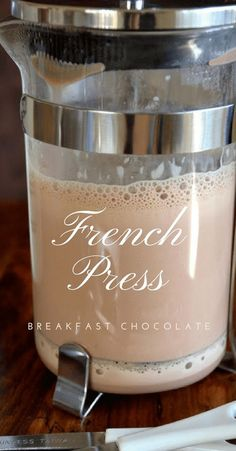 French Press Breakfast Chocolate ~ this easy method makes a thick, rich, frothed hot chocolate just like the Europeans enjoy! Non Alcoholic Drinks, Cocktail Drinks, Beverages, Cocktails, Coffee Drink Recipes, Coffee Drinks, Yummy Drinks, Healthy Drinks, Smoothie Drinks