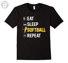 Men's Funny Softball T-Shirt Eat Sleep Softball Repeat Tee for BOY Medium Black (*Amazon Partner-Link)