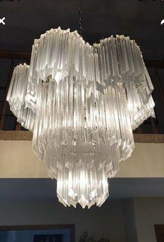 "6X triangular 3 sided lucite prism chandelier acrylic 6/"" Mid century beveled"