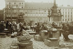 Karl Anton Schuster: Fruit market on Am Hof ​​square, Vienna, Austra Scenery Pictures, Old Pictures, Hungary, Vienna, Budapest, Austria, Street Photography, Photographs, Old Things