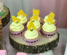 The cupcakes at this Winnie the Pooh Baby Shower are so cute! See more party ideas and share yours at CatchMyParty.com #catchmyparty #partyideas #winniethepoohparty #winniethepooh #winniethepoohcupcakes