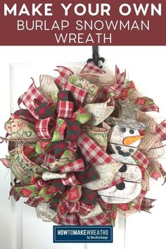 Learn how to make a rustic burlap snowman wreath! This wreath is sure to add some Christmas cheer to your front door!