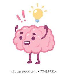 Cartoon brain with happy face and lightbulb creative idea drawing Cute brain character vector illustration Dope Cartoon Art, Dope Cartoons, Cartoon Pics, Cute Cartoon, Cartoon Brain Drawing, Cartoon Drawings, Easy Drawings, Brain Illustration, Cute Illustration