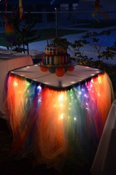 Craft Discoveries — (via Rainbow Tulle Party Table: knot strips of... …