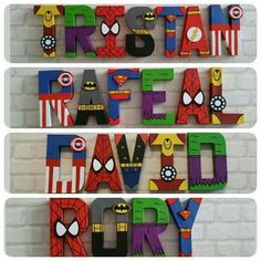Super Hero Letter names Avengers Birthday, Superhero Birthday Party, 3rd Birthday Parties, Superhero Baby Shower, Superhero Room, Anniversaire Captain America, Sons Birthday, Wooden Letters, Party Themes