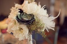Modern Shabby Chic Vintage Green Ivory White Bouquet Garden Spring Summer Vineyard Wedding Flowers Photos & Pictures - WeddingWire.com.(WEDDING RING IS PLACED IN THE CENTER OF THE ARTICHOKE. WILL YOU MARRY ME!)