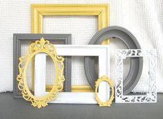 Yellow, Grey White Ornate Picture Frames with GLASS set of 7 - Upcycled Frames Modern Cottage Chic Shabby Bedroom Decor Wedding Gift Shabby Bedroom, Bedroom Decor, Dream Bedroom, Modern Cottage, Cottage Chic, Ornate Picture Frames, Yellow Picture Frames, Family Room Decorating, Decorating Ideas