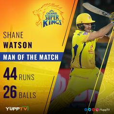 Shane Watson receives the Man of the Match award for his 44 off 26 deliveries 👏🙌🙂 Man Of The Match, The Man, Shane Watson, Congratulations, Layout, Sports, Hs Sports, Page Layout, Sport
