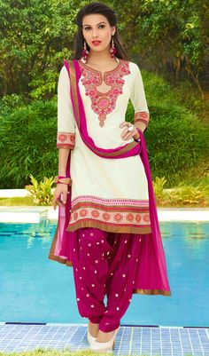 USD 32.90 White Cotton Punjabi Suit 48420
