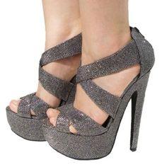 2d2ba31af6e10 Amazon.com  Women s Qupid Pewter Glitter Strappy Platform High Heels Sandal  Pump (Brenner13