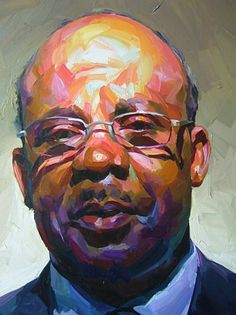 Artist: Paul Wright archive, oil on canvas {contemporary #impressionist art male head eyeglasses african-american black man face portrait painting #loveart} paul-wright.com