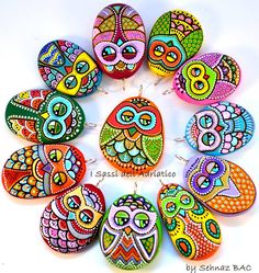 #Paintedstone Owl pendants New ones will be available next month with my shop update on www.isassidelladriatico.etsy.com
