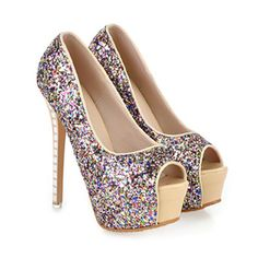 Rhinestone Thin High Heel Peep-toe Thick Sole Platform Paillette Women Thin Shoes beige