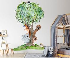 This Aussie Mates Tree Wall Sticker is inspired by our unique and wonderful wildlife. This design incorporates some of our most popular Aussie Icons. Large Wall Stickers, Nursery Wall Stickers, Baby Room Decor, Nursery Decor, Australian Animals, Australian Nursery, Printable Fabric, Small Leaf, Watercolor Artwork