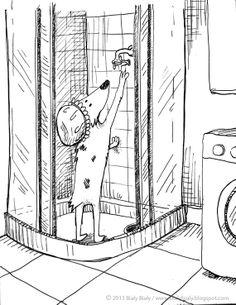 #dog #illustration Shower time