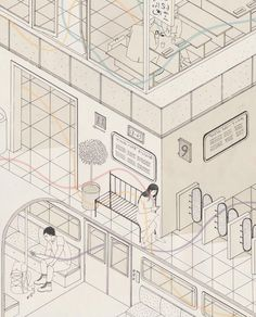 Harriet Lee Merrion - Isometric drawing influenced by Japanese art. 2014