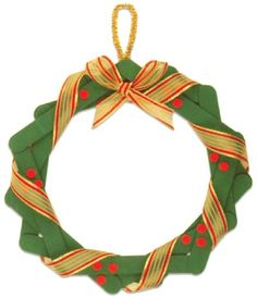 Craft Stick Projects: How to Make a Christmas Wreath. Holly berries and a pretty ribbon turn this Christmas wreath project into a holiday masterpiece. Site has lots of other kids craft projects. Take a look.....