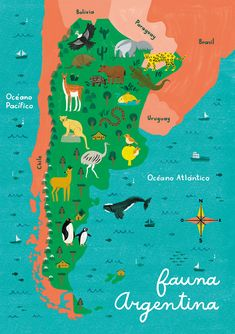 Illustrated maps of Argentina, for Diente de Leon Puzzles, an Argentine enterprise. Argentina Country, Visit Argentina, Argentina Travel, Argentina Culture, Map Puzzle, Spanish Posters, Country Maps, South America Travel, Solo Travel