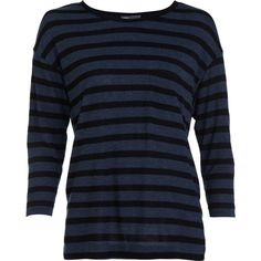 Vince Striped Pocket Tee - Black/Blue size Small ($69) ❤ liked on Polyvore featuring tops, t-shirts, shirts, sweaters, clothing & accessories, women, blue shirt, striped shirt, 3/4 sleeve t shirt and t shirts