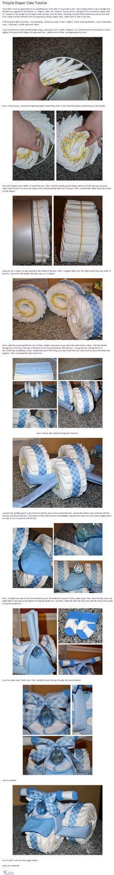 Tuto pour faire un tricycle avec des couches :)