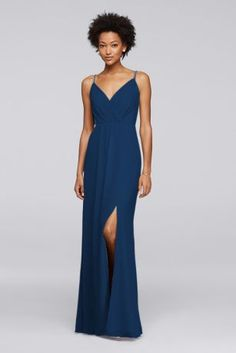 e17e705d0d1 Long Bridesmaid Dress with Beaded Straps Style F19281