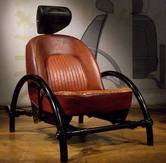 Ron Arad, Rover Chair,1981, a car seat salvaged from a scrapyard mounted on a steel frame, that famously caught the eye of Jean Paul Gaultier, and catapulted Arad firmly into the design world's Hall of Fame