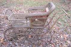 Antique Primitive Wood Wicker Wheel Baby Carriage Buggie Toy Doll Stand Stroller | eBay