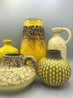 Yellow WGP midcentury Ceramic group.  Hartwig Heyne, Ruscha, Kreutz, Jasba, Ruscha. VintageCeramics4You by Etsy.