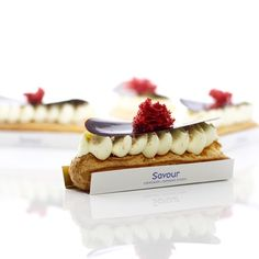 """""""New eclairs for the 2016 classes. This is Red Velvet- chocolate sponge, raspberry soak and cream cheese mousse. #eclairs #letthemeateclairs #savourschool…"""""""