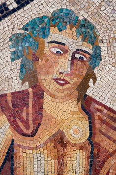 Close-up of a Roman mosaic depicting the god Bacchus, Volubilis, Morocco