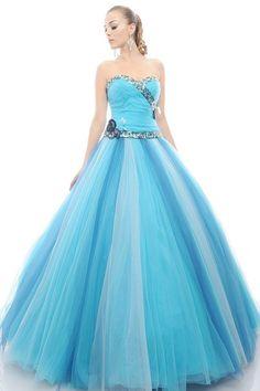 Modern Disney Princess Outfits   ... princess-sweetheart-ruched-beading-long-blue-organza-quinceanera-dress