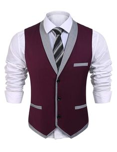 Coofandy Mens V-Neck Sleeveless Slim Fit Vest,Jacket Business Suit Dress Vest,Wine Red,Small(Chest: Mens Suit Vest, Vest Jacket, Mens Suits, Dress Vest, Blazer Dress, Khaki Suits, Suit Men, Black Suits, Traje Peaky Blinders