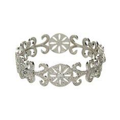 Sterling Silver Jewelry - Elegant Deco Style Vintage CZ Bangle Bracelet