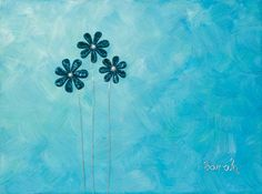 Wire Art on canvas from ButterflyOnBlue: Blue wire flowers on a blue painted background by Sarah Jansma Wire Flowers, Wire Art, Canvas Art, Butterfly, Projects, Blue, Color, Design, Log Projects