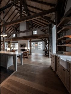 Repurposed Barn with dark, exposed beams and plenty of sunlight. We love the idea of making something old into something new! Find more ideas at bisonbuilt.tumblr.com.