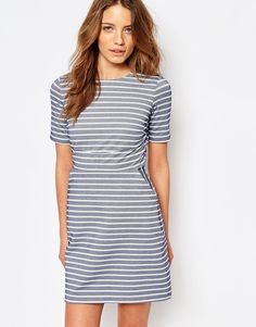 Image 1 of Warehouse - Striped Dress A-line