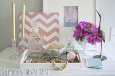 diy tray.  I have one like this I will have to paint and add fabric...