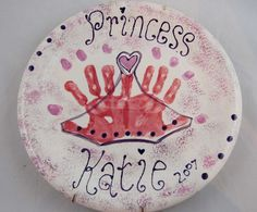 Daughter of the King Badge ~ #Handprint Tiara #princess  Painted at PicassoZ Art Cafe, Lakeland, FL