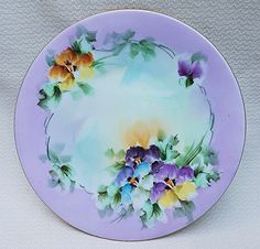 Beautiful Bavaria 1900's Hand Painted 'Purple, Yellow, Blue, & Burnt Orange Pansy' Floral Plate by Artist, 'M. Dorresery'