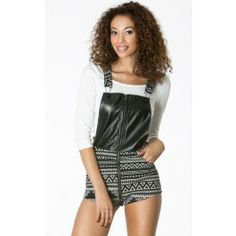 Leatherette Aztec Overall Romper