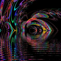 Neon Smoke fractal | Neon On The Water by laramide-orogeny