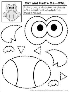 FREE Cut & Paste Activities For Preschool and Early Elementary – mackenzie mcnamara – art therapy activities Cutting Activities For Kids, Owl Activities, Art Therapy Activities, Color Activities, Toddler Activities, Owls Kindergarten, Owl Preschool, Preschool Worksheets, Kindergarten Activities