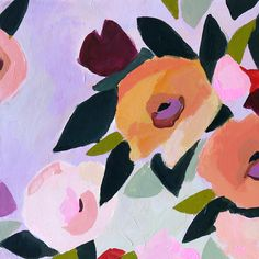 Katy Smail - what kt does » PORTFOLIO - Orange, coral, dark Pacific blue, olive, light blue, extremely loose floral