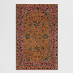 Mandarin Agra Wool Rug Orange/Pink 4' x 6' by World Market 42Inx66In